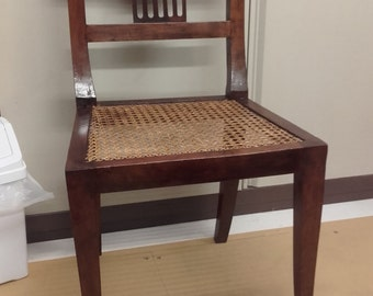 Regency Walnut dining or side chair with caned seat.  Fully restored.