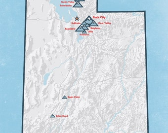 Utah Ski Resorts Map 18x24 Poster