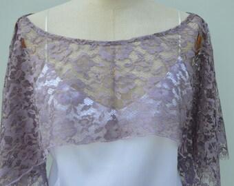 Clearance 30% bridal lace, lace, purple lace shoulder warmer poncho Cape