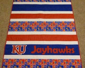 """Red and Blue Strip Quilt - Kansas Jayhawks- Baby, Crib, Stroller, Toddler, Throw, wheelchair, playmat - Shower Gift - 40""""x50""""- Ready to Ship"""