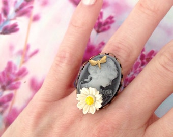 Adjustable black cameo lady and flower ring