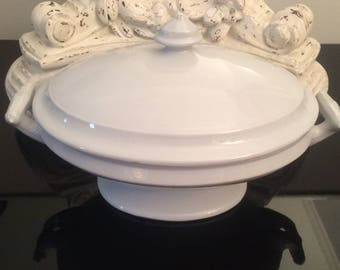 Antique Ironstone Tureen Marked J & G Meakin 1869 / White Ironstone China Footed Tureen / Covered Oval Ironstone Bowl
