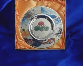 Chinese 24k GP Boxed Souvenir Plate from Changchun China