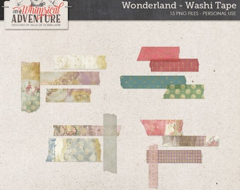 Wonderland Digital Washi Tape, Instant Download, Digital Scrapbooking Embellishments, White Rabbit, Mad Hatter, Alice, Gold Patterned Tape