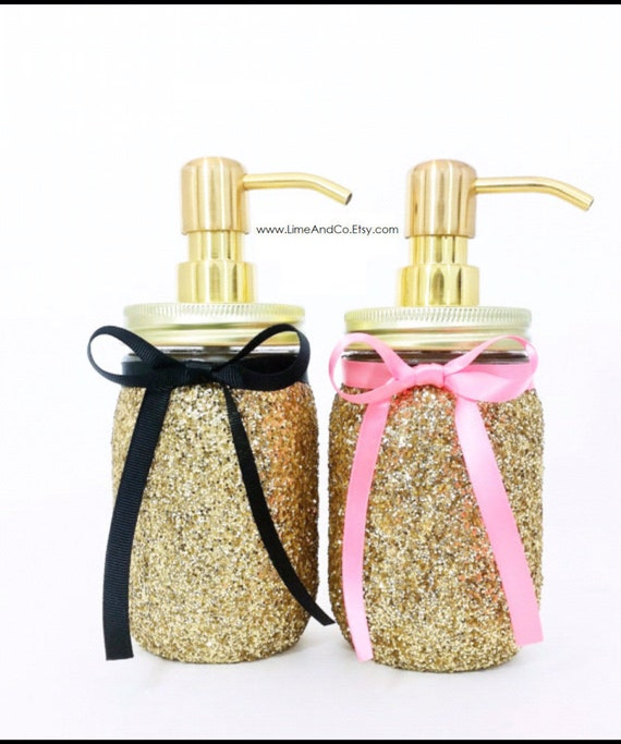 Mason jar soap dispenser bathroom decor pink and gold decor for Pink and gold bathroom accessories