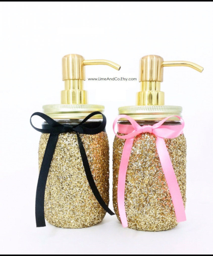 Mason jar soap dispenser bathroom decor pink and gold decor for Pink and gold bathroom decor