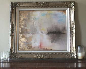 """Gold Leaf Print Abstract Art - Fall Neutral Giclee Print 20"""" x 24"""" - """"Lake View"""" by ErinEliseArtiste"""
