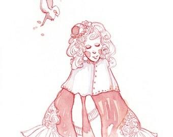 "original artwork, ballpoint pen and watercolors, fantasy, ""Sitting Pretty"""