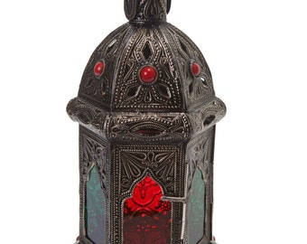 EXOTIC MOROCCAN LANTERN Handmade Large Vintage Metal Moroccan Lantern with Intricate Embossed Metal & Stained Glass Designs