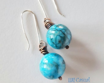 Turquoise Blue Earrings, Round Earrings, Gumball Earrings, Dangle Earrings