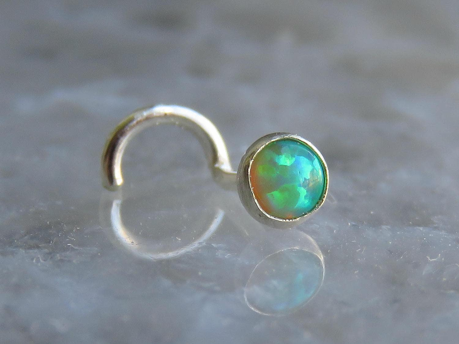 nose stud 18g gemstone nose stud green opal nose stud