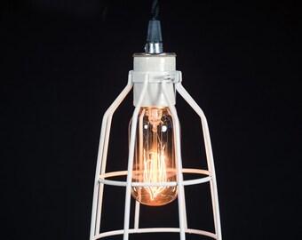 White Cage pendant light Industrial Aluminium ceiling light, Antique Edison Bulb, Lamp, Rustic Lighting