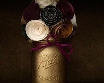 Rustic Mulberry, Gold, Cream & Black paper flower bouquet- Hand Painted Mason Jar