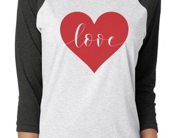 Valentine shirt, raglan tee, valentine gift, raglan tshirt, heart love shirt, valentine's day, engagement shirt, gift for her, gift for him