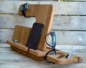 Docking station,charging station,mens gift,iphone,iphone dock,christmas gift,phone stand,gift for him,gift for men,organizer,iphone stand