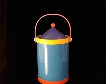 Vintage Mid Century Modern 1980's Memphis Ice Bucket Ettore Sottsass Retro BARWARE