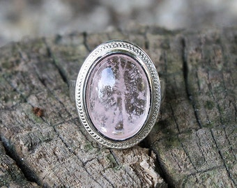 Morganite Ring, Natural Morganite Ring, Gem Stone Morganite Ring, Silver Ring, Sterling Silver Ring, Gift Jewelry, Silver, Pink Ring, Handmade