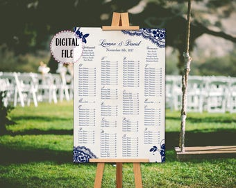 Navy Seating chart, lace seating chart, Printable, seating plan, chart, names, seating chart, rustic wedding, navy lace seating chart