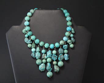 Sterling Turquoise Beaded Bib Necklace, Turquoise Beads, Turquoise Statement Necklace, Sterling Bib, Tribal Necklace