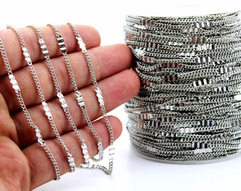 10 meters ( 33 Feet ) Wire Thickness : 0.40 mm Chain, Silver Tone, Free Yes