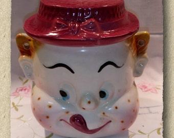 """Vintage Ceramic """"Cheeky Boy"""" Cookie Jar Biscuit Barrel Made in Japan"""