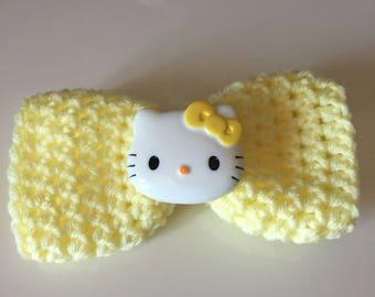 Kitty Hair Barrette - Crochet Hair Bow - Hair Bow - Yellow Hair Clip - Crochet Bow - Children's Bow - Adult's Bow