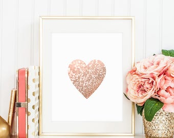 Rose Gold Heart Print Pink Wall Art Printable Glitter Heart Art Rose Gold Decor Party Wedding Sign Home Decor Gift For Her 8x10 4x6 DIGITAL