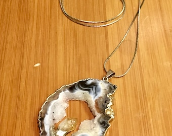 Druzy Slice Geode Necklace