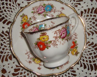 Royal Albert Crown China England - Hand Decorated - Vintage Tea Cup and Saucer -  Floral, Brown Leaves, Scalloped, Gold Trim