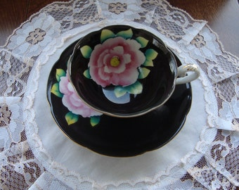 Japan Hand Painted Vintage Scalloped Tea Cup and Saucer - Large Pink Rose and Leaves on a Black Background