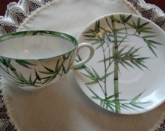 Vintage Hong Kong made Translucent Porcelain Tea Cup and Saucer - Hand Painted Bamboo