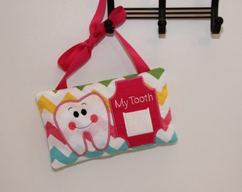 """Tooth Fairy Pillow With Ribbon - Hangs On Door - Front Pocket For Money - Children's Gifts - 10x6"""" - Kids Accessory - Household Item - Girl"""