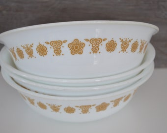 Set of 4 Butterfly Gold Soup Bowls / Corelle / Vintage