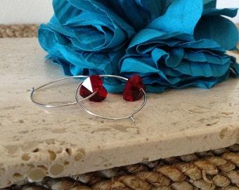 Romantic Red Glass Heart Hoop Earrings. Simple and beautiful.