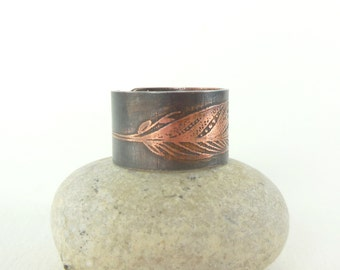 Feather ring, Adjustable ring, copper ring, feather, shaman, Native American jewelry, copper, jewelry, shaman, shaman, ring ring Bohemian ring