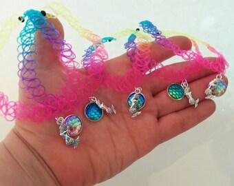 Mermaid scale choker, mermaid tattoo choker, rainbow tattoo choker, rainbow mermaid scales, rainbow tattoo necklace, choker necklace, choker