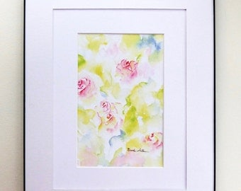 Pink Rose Decor, Abstract Floral Art, Watercolor Prints, Abstract Home Decor, Watercolor Roses, Nursery Decor, Girly Home Decor, Roses