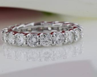 Diamond Eternity Ring in 14k WG, U Shape Band, Round Diamond Wedding Band, Anniversary Ring, Eternity Band, U Shape Ring, Shared Prongs Band
