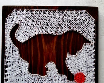 Picture String art Wall decor String art Christmas kitten Cat String art Custom Animal Lover Gift Feline String Home Art Wall art Custom art