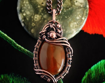 Wire wrapped pendant - Agate pendant - Copper jewelry - Wire wrapped jewelry - Copper pendant - Inspirational necklace -Vvalentine gift