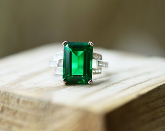 Emerald Ring Emerald Cocktail Ring Emerald Cut Emerald Large Emerald Ring Emerald Statement Ring Emerald Engagement Ring Emerald Wedding