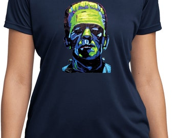 Ladies Frankenstein Face Moisture Wicking Tee T-Shirt 20719NBT2-LST350