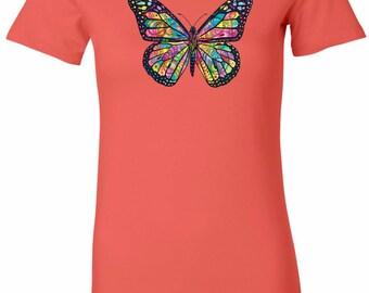 Ladies Neon Butterfly Longer Length Tee T-Shirt 20995NBT4-6004