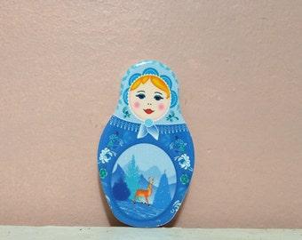Babushka Magnet, Babushka, Cubicle Decor, Babushka shaped , Matryoshka Russian Doll , decorative, Magnet babushka, Magnet, Home Decor