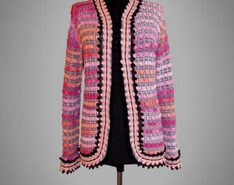 Crochet jacket Antonella. Multicolor crochet new cotton jacket. Made to order. Free shipping.
