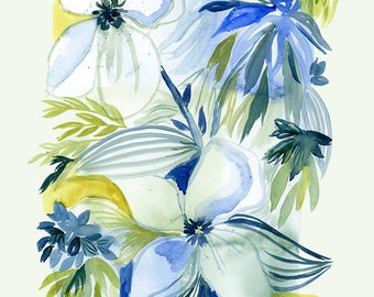 Modern Floral Print Your Own Wall Art - Blue Flowers - Abstract Floral Painting for Download