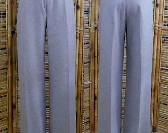 1970s High Waist, Wide Leg Wool Blend Minimalist Pants - Small/Medium