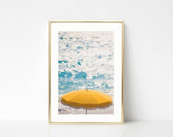 Large Beach Wall Art, Yellow Umbrella, Beach Print, Cannes, French Riviera, Gallery Wall Print, Travel Print, Ocean Wall Art