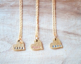 Name Necklace, Gifts for Mom, Heart Necklace,Personalized Necklace,Custom Made Jewelry,Hand Stamped Jewelry,Grandma Gift,Anniversary Gift
