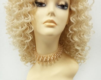 14 Inch Lace Front Light Blonde Curly Wig. Small Spiral Curls. Heat Resistant Synthetic Fashion Wig. [112-523-Flora-613]